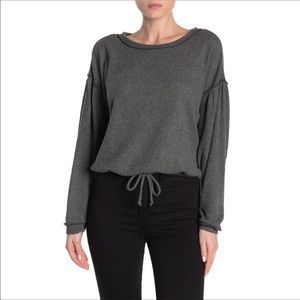 Socialite NWOT Gray Tie Front Waffle Knit Sweater